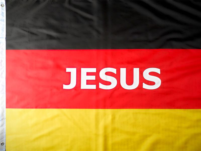 Gebetsflagge Deutschlandfahne Jesus 90x150cm Kraftvolle Gebete
